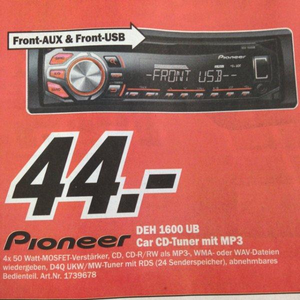 [Media Markt Stuttgart-Feuerbach] Pioneer DEH-1600UB  Autoradio + 8GB USB Stick für 44€