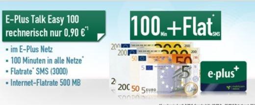 Handybude --Plus Talk Easy 100 mit 100 Freiminuten + SMS-Flat + 500MB Internet für nur 1 € Monat