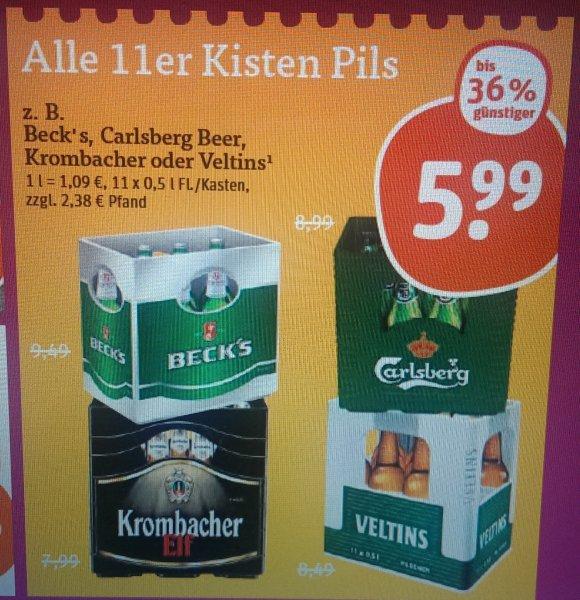 (tegut) BIER! ALLE 11x0,5 Liter Kästen z.b. Beck's, Carlsberg, Krombacher und Veltins (1 Liter = 1,09 Euro)