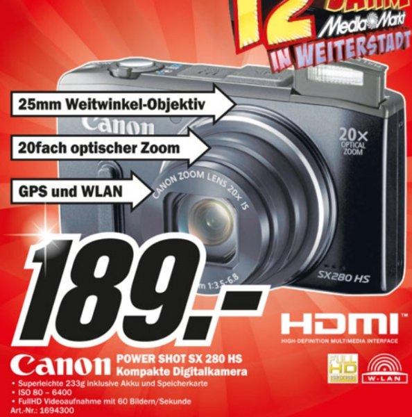 [MediaMarkt Weiterstadt] - Canon powershot sx 280hs Black für 189€ / Canon eos 700d inclusive 18-55 is STM für 569€ / Canon eos 70d inclusive. 18-55 is DTM für 969€
