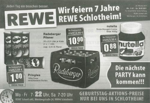 [OFFLINE/LOKAL] Rewe Schlotheim - Nutella 0,88 / Pringles 1,00