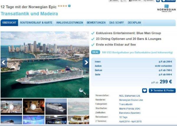 12 Tage Atlantikkreuzfahrt für 299 € + Flüge und Trinkgelder