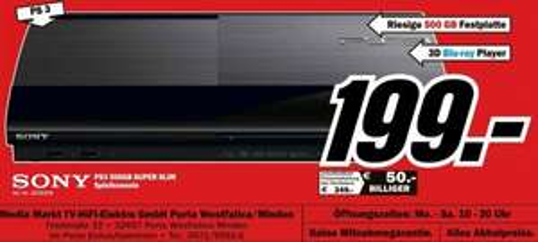 Sony PS 3 500GB 199 €