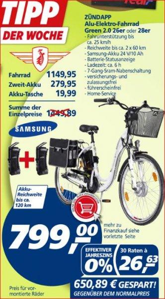 "E-Fahrrad, E-Bike Zündapp Green 2.0 in größe 26"" oder 28"" @real, 650,89 € gespart"