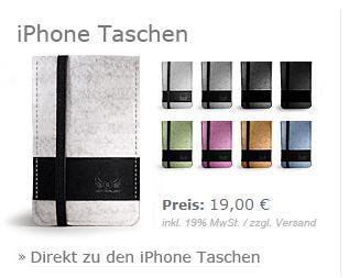 30% auf hochwertige iPhone und iPod Touch Filz-Taschen