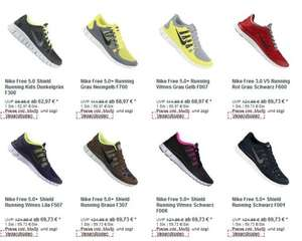 Diverse Nike Free Modelle fü weniger als 69,73€ , keine Versandkosten; Nike Free 3.0 V5, Nike Free 5.0