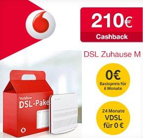 [Qipu] Vodafone DSL Zuhause M für 29,95€/ Monat mit 210€ Cashback, 6 gratis Monaten und gratis VDSL upgrade- effektiv 14,58€ / Monat!