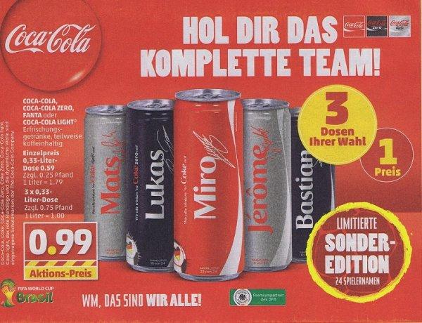 [Penny ]  3x 0,33 Liter WM Coca Cola  Dosen mit Spielernamen