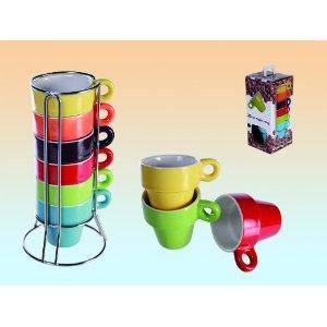 2 x Espresso Set mit je 6 Tassen regenbogenfarbig im Ständer + Geschenkbox auf SalesFever für 2 Euro inkl. VSK
