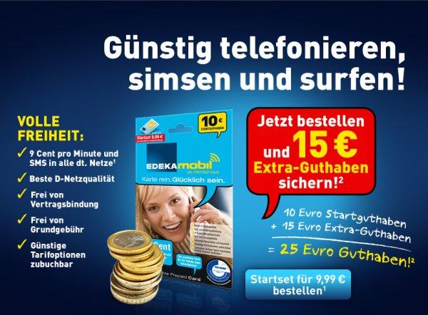 EDEKAmobil 10€ Startguthaben + 15€ Extra bei Registrierung für 9,99€