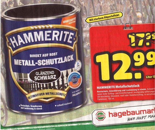 [Hagebau] Hammerite Metall-Schutzlack Schwarz glänzend 750 ml 12,99€