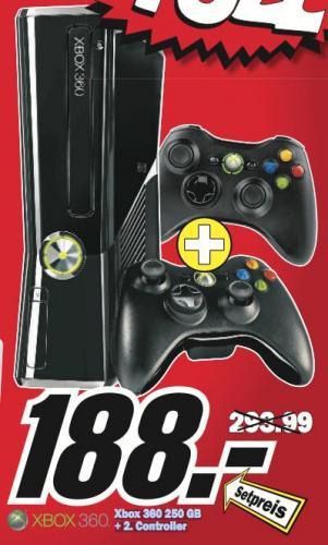 Xbox 360 Slime 250 GB +2 Kontroller für 188 € bei Media Markt Baden Baden