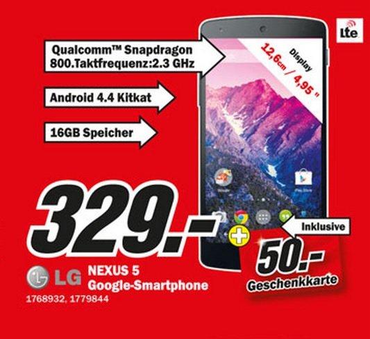 LG Nexus 5 16GB für 329€ ink.50€ Gutschein,HTC M8 649€ inkl.100€ Gutschein Lokal [Mediamarkt Worms]