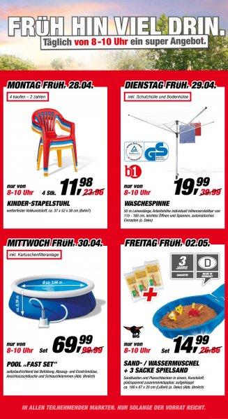 [Offline] toom Baumarkt bundesweit: Wäschespinne für 19,99; 4 Kinderstühle für 11,98 und weitere Schnäppchen