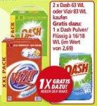 Dash Waschmittel 63WL für 8,99€ - Gratis Beigabe im Wert von 2,69€  bei Kauf von 2 Packungen - Kombination mit laufender GzG-Aktion möglich