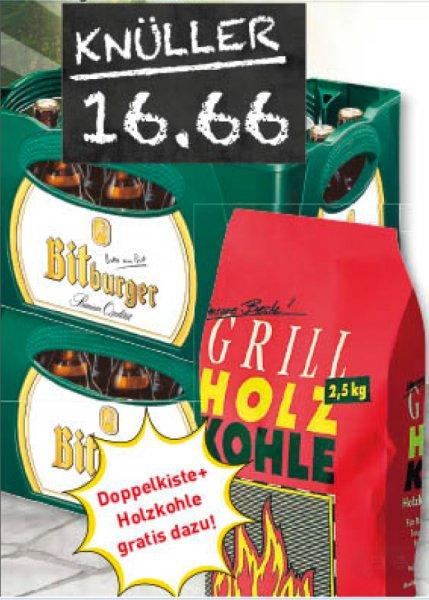 Marktkauf 2 Kästen Bitburger Stubbi Pils, Radler o.  Cola  + einen Sack Grillholzkohle für 16,66 €
