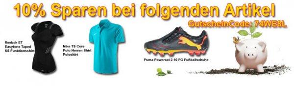 Rabataktion: Reebok Easytone Funktionsshirt - Nike TS Core Poloshirt - Puma Powercat 2.10 Fussballschuhe
