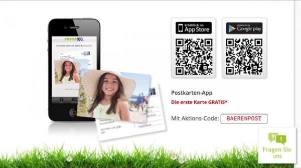 Gratispostkarte über Posterxxl PostkartenApp