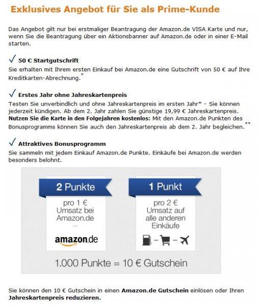 Amazon VISA Card mit 50€ Startguthaben