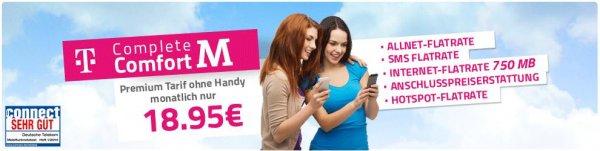 Telkom Complete Comfort M Allnet + SMS + 750 MB Internet Flat + Hot Spot Flat nur 18,95€ im Monat