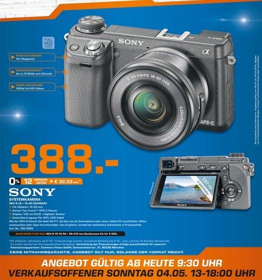 Sony Alpha NEX-6 Kit 16-50mm für 388€ Lokal [Saturn Hürth]
