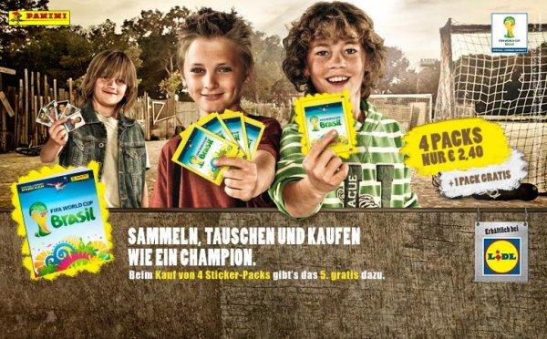 Panini WM 2014 Sticker: 4 Packs kaufen, 1 Pack gratis bei Lidl