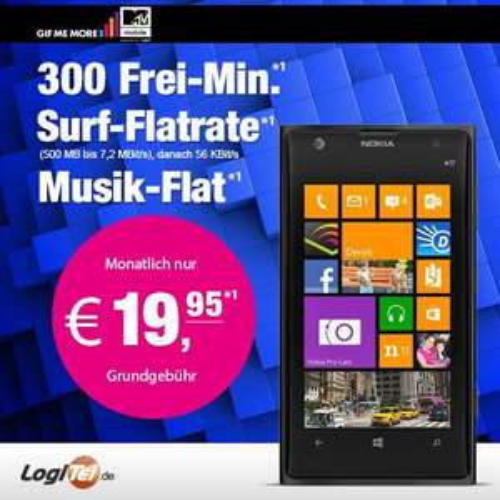 Nokia Lumia 1020 black mit MTV Mobile 2014 (eplus, 300 Minuten, 500 MB), ebay/LogiTel