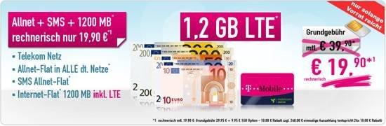 mobilcom-debitel Telekom Allnet-Flat + SMS + 1,2 GB LTE 19,90 € Aktion