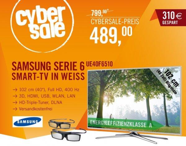Samsung Smart TV UE40F6510 in weiß für 489€ [LCD/LED, 3D, Wlan, Triple Tuner, 400 Hz...]