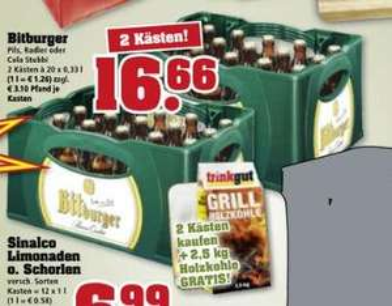 [Trinkgut] Bitburger Stubbi 2 Kästen + 2,5kg Holzkohle