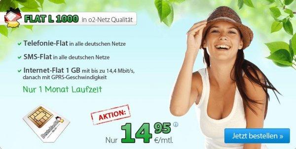 DeutschlandSim O2 FLAT L1000  Allnet-, SMS- und Internet-Flat 1 GB mit 14,4 MBit/s nur 14,95 Euro