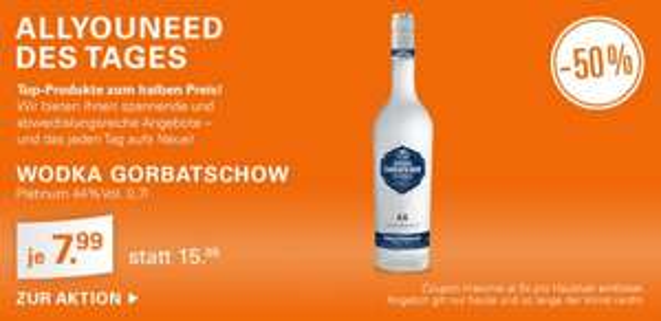 Allyouneed.com: Wodka Gorbatschow Platinum 44% 0,7 Liter