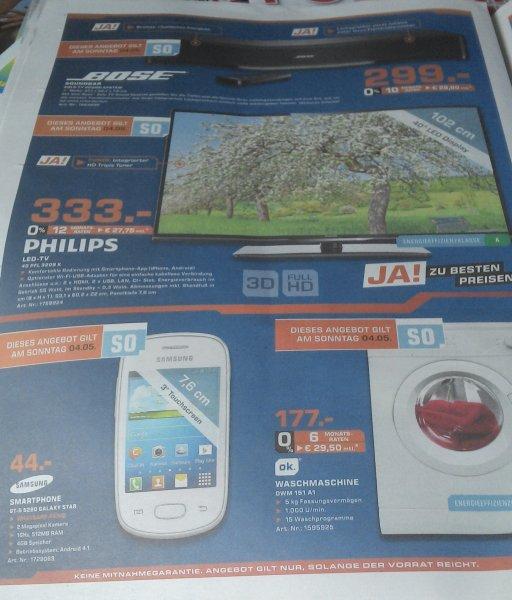 [lokal Saturn Neuss] Philips 40PFL3208K (333€), Bose Solo TV (299€), OK Waschmaschine (177€)