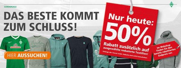 Werder Bremen: 50% Rabatt zusätzlich auf reduzierte Textilien