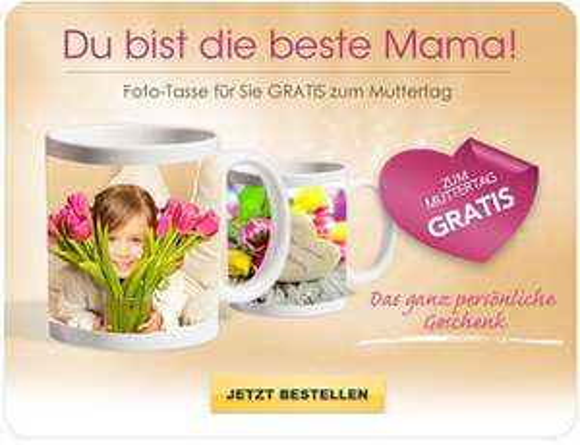 Fototasse gratis (nur VSK) über NKD (myprinting) Lieferung bis zum Muttertag!