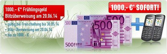 Samsung E1050 mit Vodafone Flat4You Aktion für 31,89 €/mon. einm. 500 € Barauszahlung