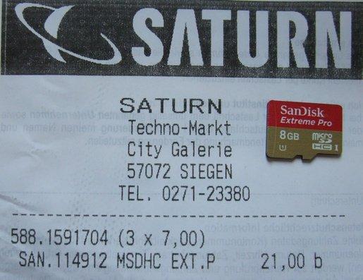 [lokal Siegen Saturn] SanDisk Extreme Pro microSD Card 8GB für 7 Euro