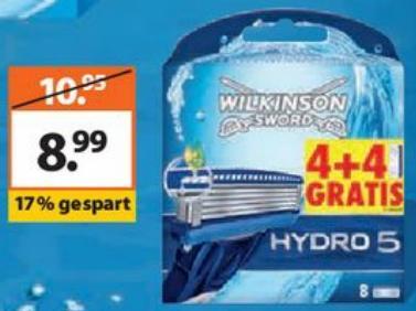8 Klingen Wilkinson Hydro 5 für 8,99€ - ab Montag @Müller
