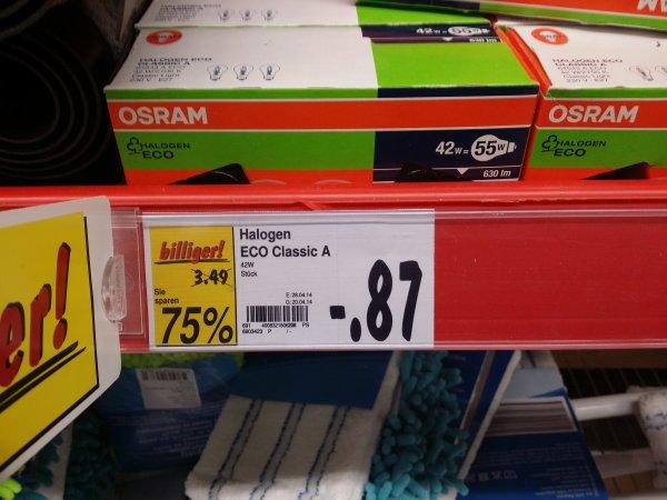 Lokal Kaufland Sinzig Osram Halogen Eco E27 42W=55W warm-weiß Glühlampenform 3er-Pack