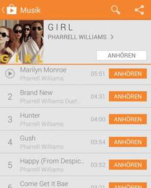 Girl - Pharell Williams 1,99 € @Google Play Music