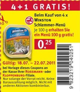 Katezenfutter: Winston Schlemmer-Menü (4+1 Gratis) @Rossmann Offline -20%
