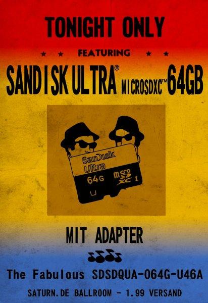 SANDISK Ultra® microSDXC™ SDSDQUA-064G-U46A 64 GB  mit Adapter @Saturn.de
