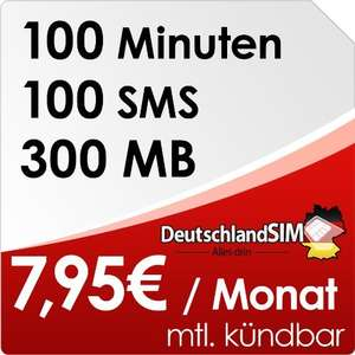[BLITZANGEBOT]DeutschlandSIM SMART 100 [SIM und Micro-SIM] monatlich kündbar (300MB Daten-Flat, 100 Frei-Minuten, 100 Frei-SMS, 7,95 Euro/Monat, 15ct Folgeminutenpreis) Vodafone-Netz