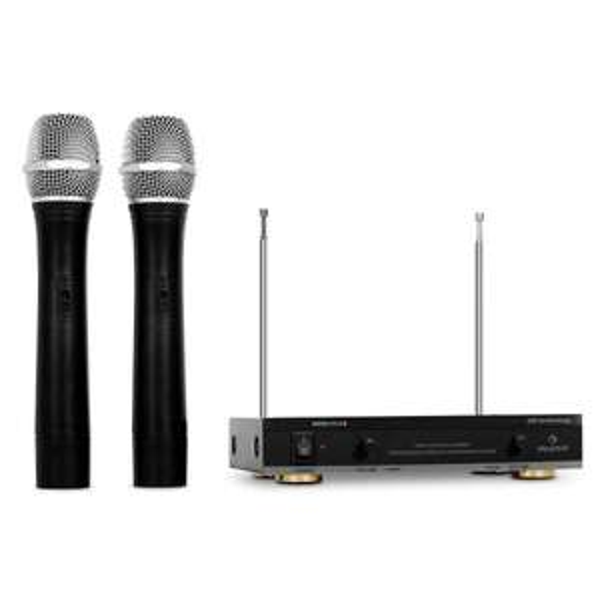 2 Stück Auna FU-2-B kabelloses Funkmikrofon bis 100m für Karaokeparty