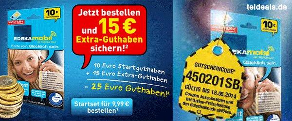 EDEKAmobil Prepaid Karte mit 40 € Startguthaben (=30 € Gewinn)