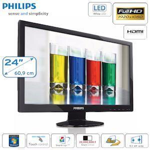 """Philips 60,96cm (24"""") Full HD LED Monitor mit Touch-Bedienelementen und HDMI"""
