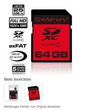 64 GB SDXC-Card, Class10 CnMemory @Play.it 22,22 € zuzüglich Versand