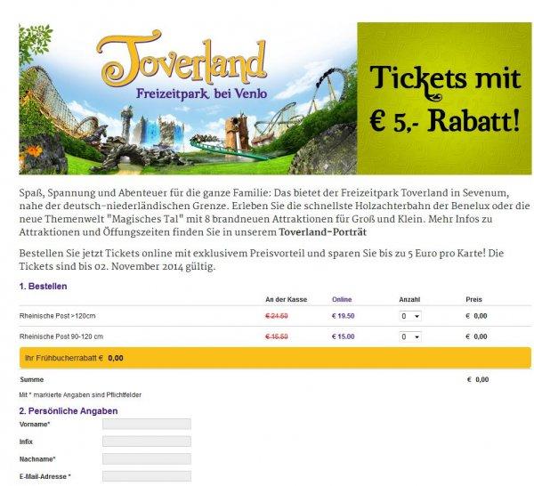 Freizeitpark Toverland: 5 Euro Rabatt bei RP Online
