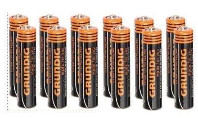 [offline Kempten EuroShop] GRUNDIG PLUS Micro-Batterie AAA 325mAh-R03 1.5V 12 Stück