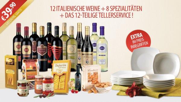12 Weine + 8 Spezialitäten + Tellerservice @Giordano 39.90€